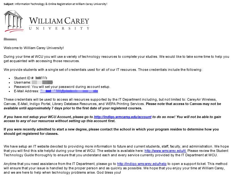 Activate Indigo Student Portal Account William Carey University