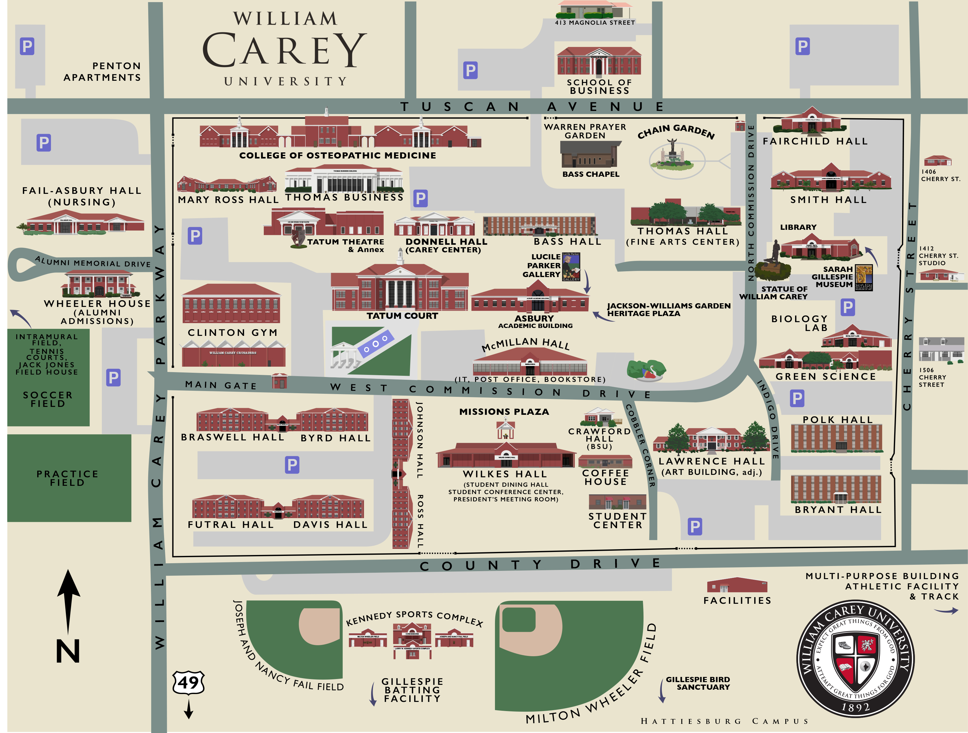 southern miss campus map Commencement William Carey University southern miss campus map