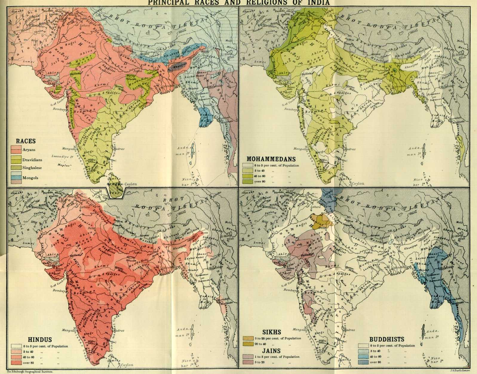Races And Religions In India, Ca.